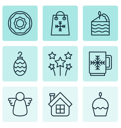 Set of 9 new year icons includes winter cup vector