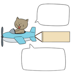 set of cat on plane vector image