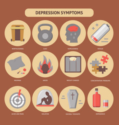 Set of depression symptoms icons in flat style vector