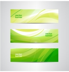 set of green eco wavy banners vector image
