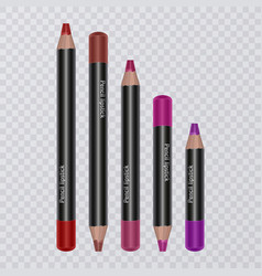 set of realistic lip pencils on transparent vector image