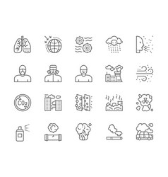 Set pollution line icons air dust radioactive vector