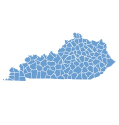 State Map of Kentucky by counties vector image