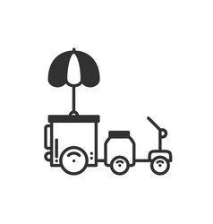 Street food retail thin line icon tricycle trade vector