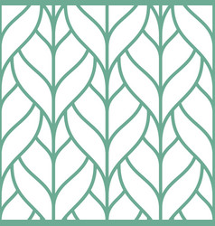 stylish seamless pattern with green outline leaves vector image