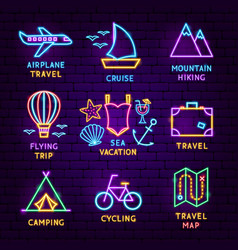 summer travel neon label set vector image