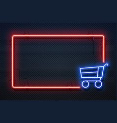 supermarket neon sign hypermarket light banner vector image