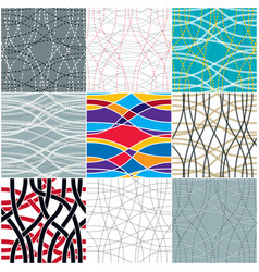 tangled curvy lines seamless patterns set repeat vector image