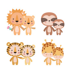 Tigers giraffes lions and sloths mothers and cubs vector