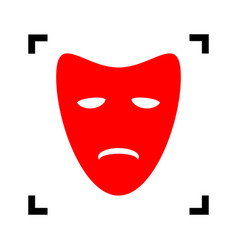 tragedy theatrical masks red icon inside vector image