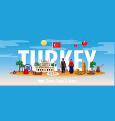 Turkey tourism concept vector