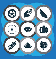 vegetable icons set with melon maize lychees and vector image