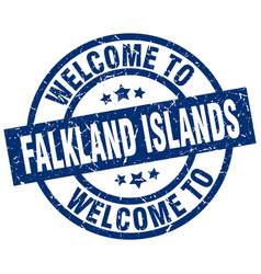 Welcome to falkland islands blue stamp vector