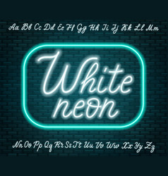 White neon script uppercase and lowercase letters vector