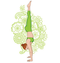 Women silhouette headstand yoga pose adho mukha vector