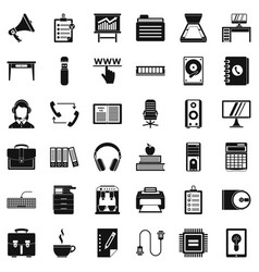 Work space icons set simple style vector