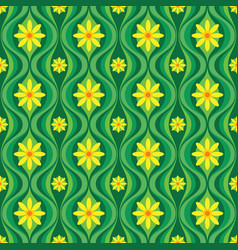 yellow flowers and green leaves mid-century art vector image