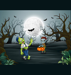 Zombies walking in the dead forest on night vector