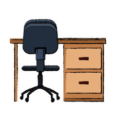 desk chair office furniture elements decoration vector image