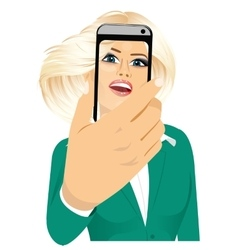 happy woman taking a selfie using her smartphone vector image