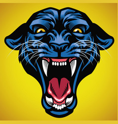 head of angry black panther vector image vector image