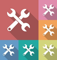 Icon of Wrench Flat style Long shadow vector image vector image