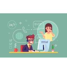 Male helpline operator consulting a client vector image