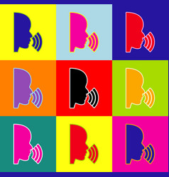 people speaking or singing sign pop-art vector image vector image