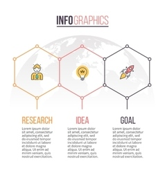 Business infographics Timeline with 3 hexagons vector image