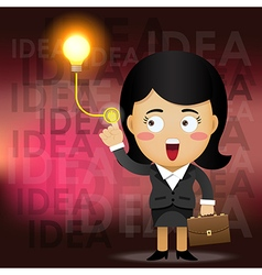 business woman turning on idea light bulb vector image vector image