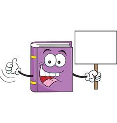 Cartoon book holding a sign vector
