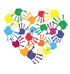 Colorful child hand prints in heart shape vector image vector image