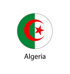 flag of algeria in the form of a circle vector image vector image