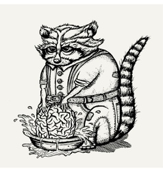 Pen and ink of humanlike raccoon vector image