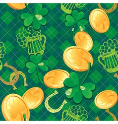 Seamless Saint Patrick day pattern Shamrock and go vector image