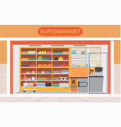 supermarket building and interior with fresh food vector image