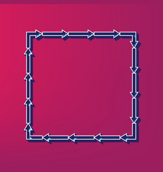 arrow on a square shape blue 3d printed vector image vector image