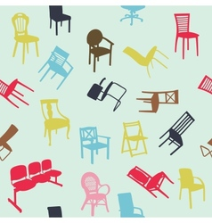 Big set of home chair silhouettes seamless pattern vector