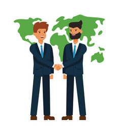 global partnership businessmen shaking hands vector image