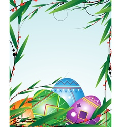 Green branches and bright Easter Eggs vector image