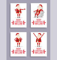 happy new year and merry christmas santa congrats vector image vector image