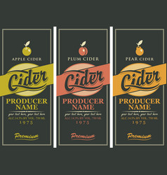 set of three labels for a cider vector image