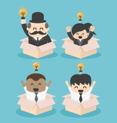 Businessman think outside the box flat SET vector image vector image