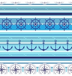 Seamless nautical blue colorful pattern vector image vector image