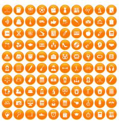 100 hi-school icons set orange vector image