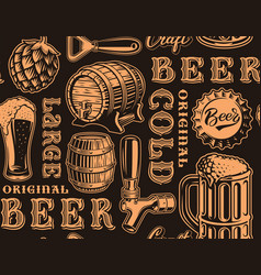 a black and white seamless background for beer vector image
