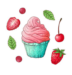 a set strawberry cherry cupcake hand drawing vector image
