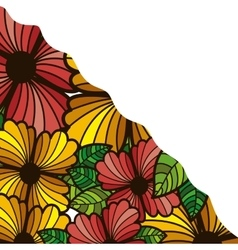 Abstract colorful border with flowers and leaves vector
