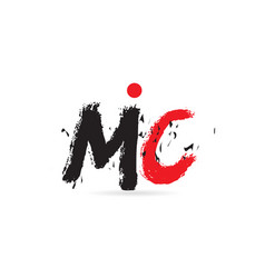 Alphabet letter combination mc m c with grunge vector