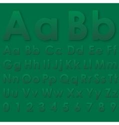 Alphabet pseudo 3d letters on a green vector